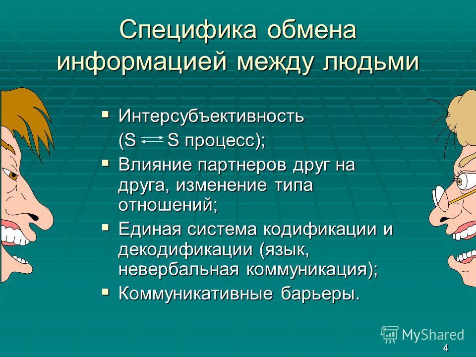 4 Специфика обмена информацией между людьми Интерсубъективность Интерсубъективность (S S процесс); Влияние партнеров друг на друга, изменение типа отношений; Влияние партнеров друг на друга, изменение типа отношений; Единая система кодификации и деко