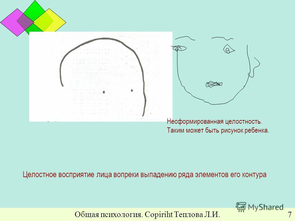 Общая психология. Copiriht Теплова Л.И. 7 Целостное восприятие лица вопреки выпадению ряда элементов его контура Несформированная целостность. Таким может быть рисунок ребенка.