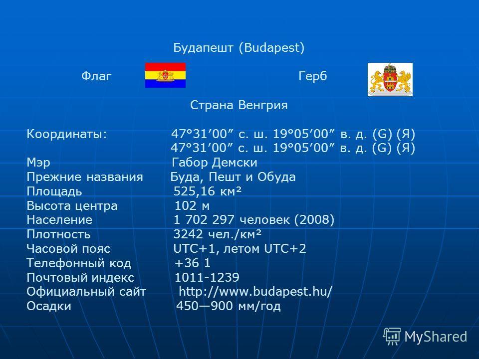 Будапешт (Budapest) Флаг Герб СтранаВенгрия Координаты: 47°3100 с. ш. 19°0500 в. д. (G) (Я) 47°3100 с. ш. 19°0500 в. д. (G) (Я) Мэр Габор Демски Прежние названияБуда, Пешт и Обуда Площадь 525,16 км² Высота центра 102 м Население 1 702 297 человек (20