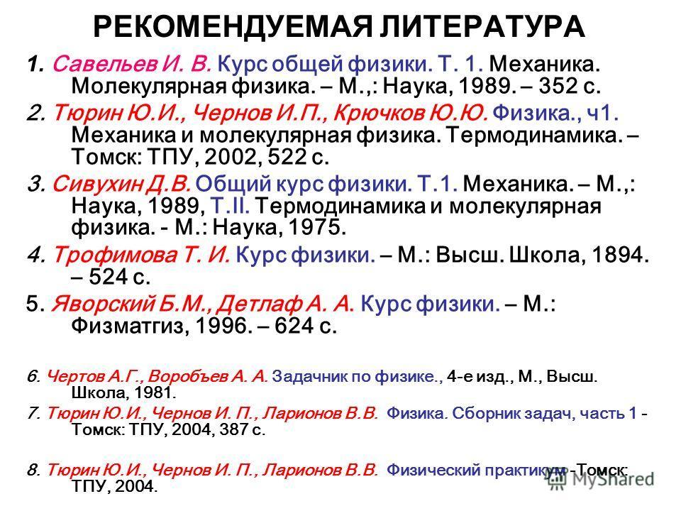 РЕКОМЕНДУЕМАЯ ЛИТЕРАТУРА 1. Савельев И. В. Курс общей физики. Т. 1. Механика. Молекулярная физика. – М.,: Наука, 1989. – 352 с. 2. Тюрин Ю.И., Чернов И.П., Крючков Ю.Ю. Физика., ч1. Механика и молекулярная физика. Термодинамика. – Томск: ТПУ, 2002, 5