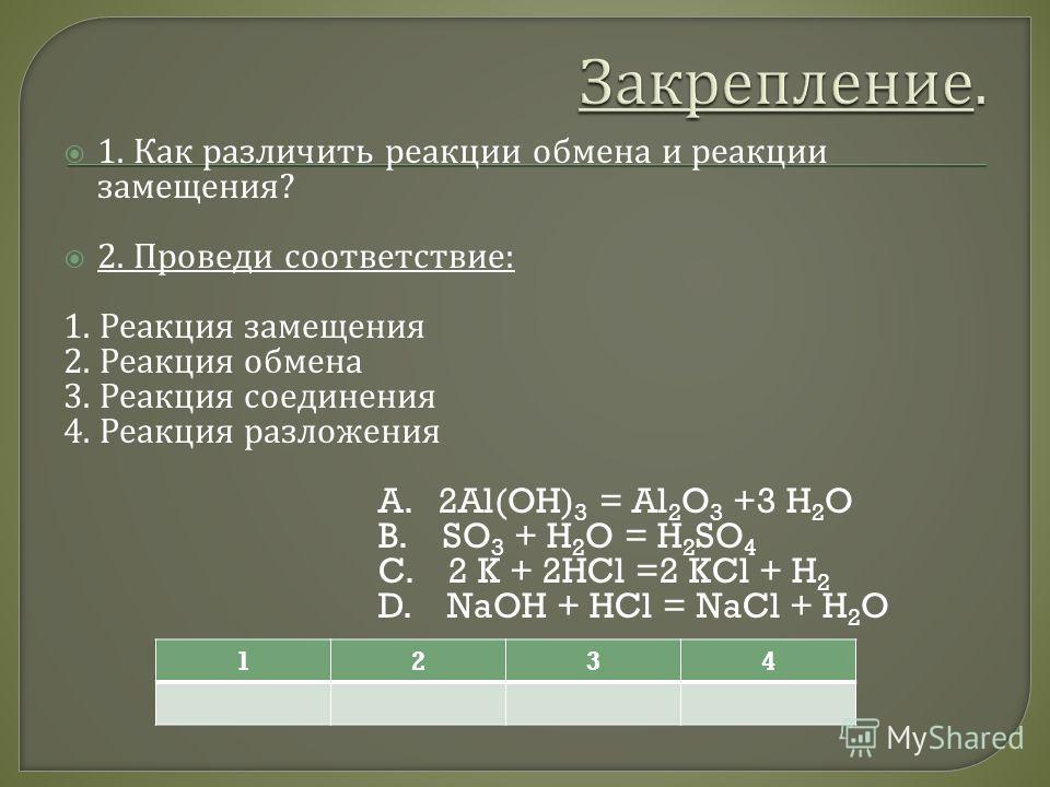 1. Как различить реакции обмена и реакции замещения ? 2. Проведи соответствие : 1. Реакция замещения 2. Реакция обмена 3. Реакция соединения 4. Реакция разложения A. 2Al(OH) 3 = Al 2 O 3 +3 H 2 O B. SO 3 + H 2 O = H 2 SO 4 C. 2 K + 2HCl =2 KCl + H 2