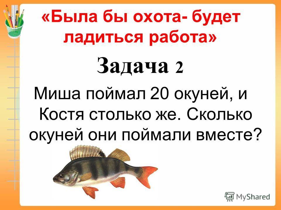 «Была бы охота- будет ладиться работа» Задача 2 Миша поймал 20 окуней, и Костя столько же. Сколько окуней они поймали вместе?