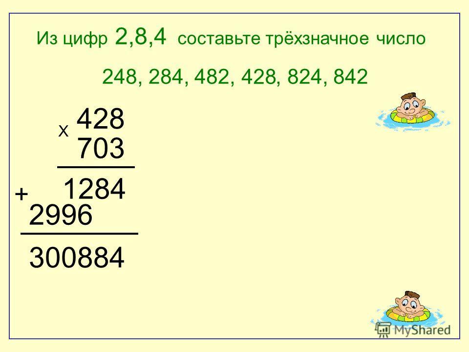 248, 284, 482,, 824, 842 Х 428 703 + 1284 2996 300884 Из цифр 2,8,4 составьте трёхзначное число 428