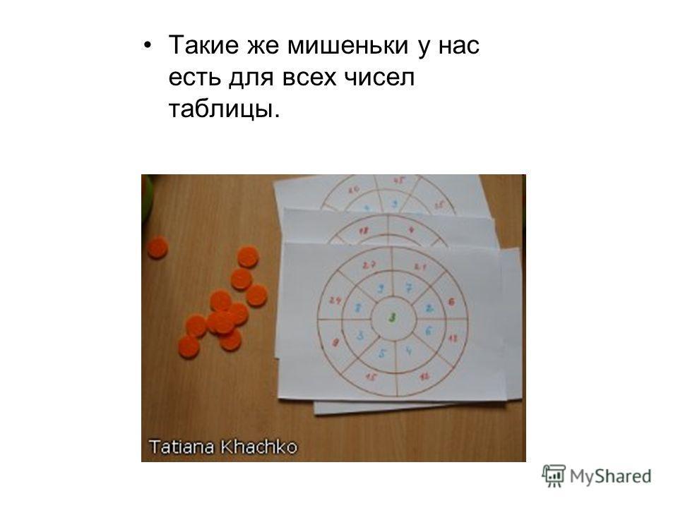 Такие же мишеньки у нас есть для всех чисел таблицы.
