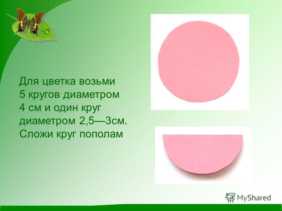 Для цветка возьми 5 кругов диаметром 4 см и один круг диаметром 2,53см. Сложи круг пополам