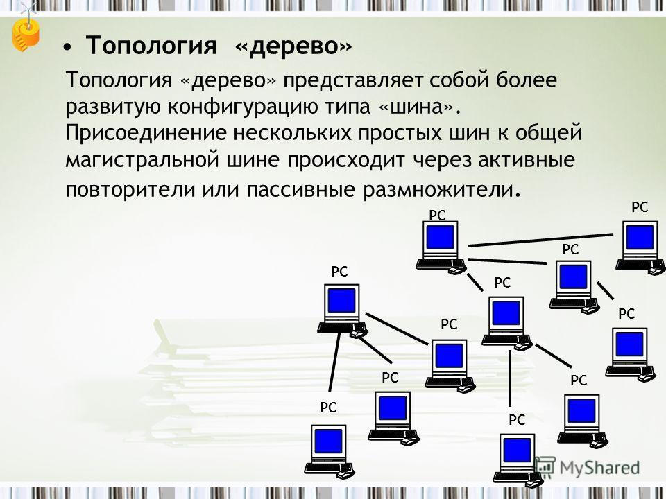 Топология «дерево» Топология «дерево» представляет собой более развитую конфигурацию типа «шина». Присоединение нескольких простых шин к общей магистральной шине происходит через активные повторители или пассивные размножители. РС