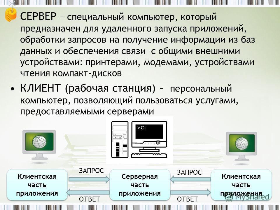 СЕРВЕР – специальный компьютер, который предназначен для удаленного запуска приложений, обработки запросов на получение информации из баз данных и обеспечения связи с общими внешними устройствами: принтерами, модемами, устройствами чтения компакт-дис
