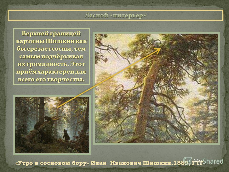 Лесной «интерьер» «Утро в сосновом бору» Иван Иванович Шишкин.1889, ГТГ Верхней границей картины Шишкин как бы срезает сосны, тем самым подчёркивая их громадность. Этот приём характерен для всего его творчества.