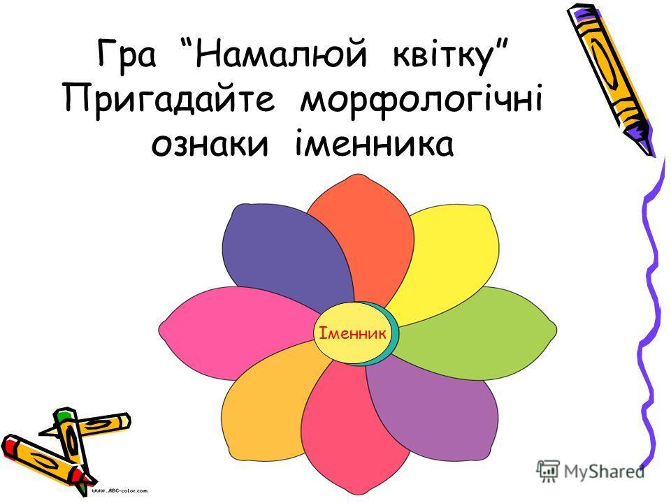 Гра Намалюй квітку Пригадайте морфологічні ознаки іменника Іменник