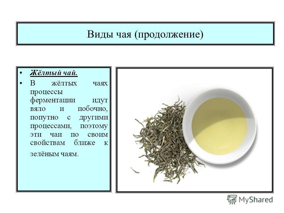Виды чая (продолжение) Жёлтый чай. В жёлтых чаях процессы ферментации идут вяло и побочно, попутно с другими процессами, поэтому эти чаи по своим свойствам ближе к зелёным чаям.