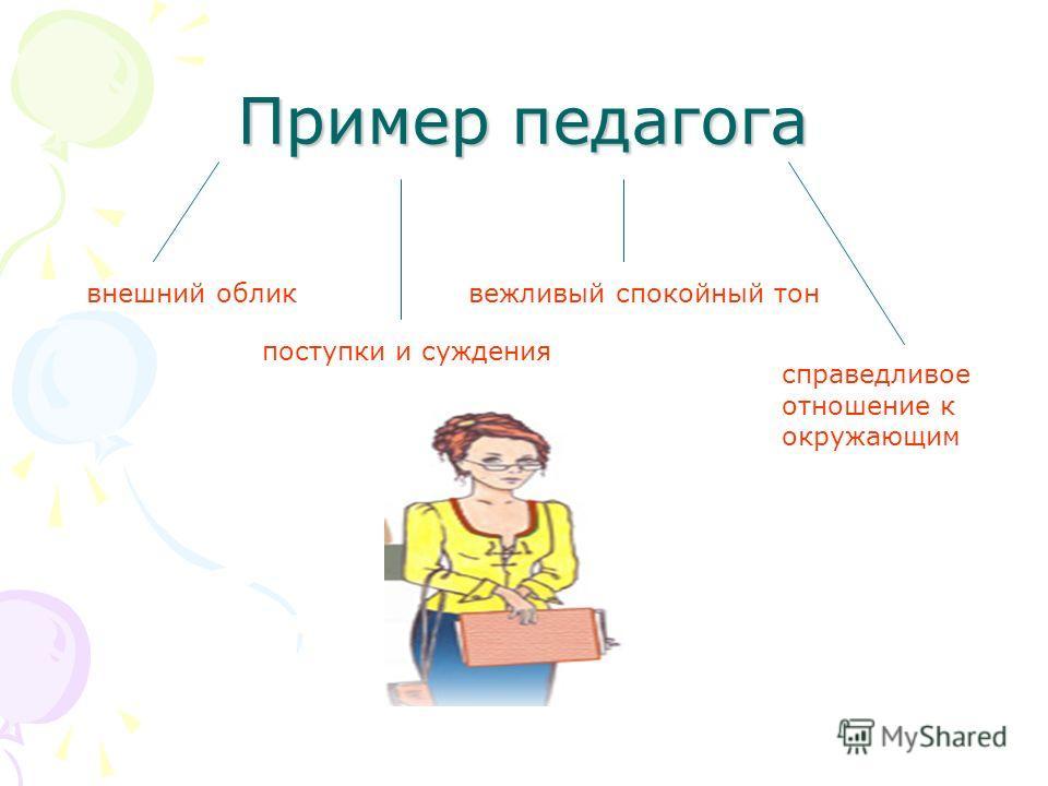 Пример педагога внешний облик поступки и суждения вежливый спокойный тон справедливое отношение к окружающим