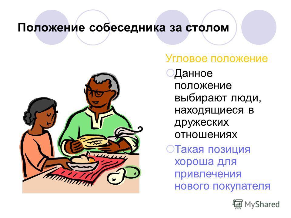 Положение собеседника за столом Угловое положение Данное положение выбирают люди, находящиеся в дружеских отношениях Такая позиция хороша для привлечения нового покупателя