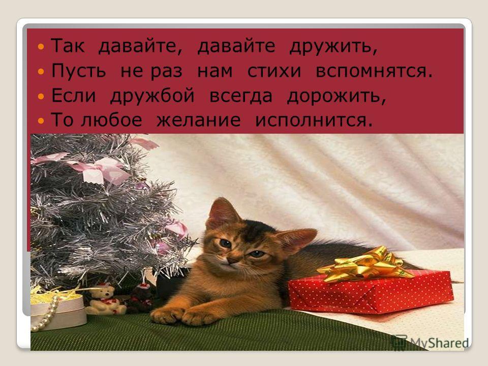 Так давайте, давайте дружить, Пусть не раз нам стихи вспомнятся. Если дружбой всегда дорожить, То любое желание исполнится.