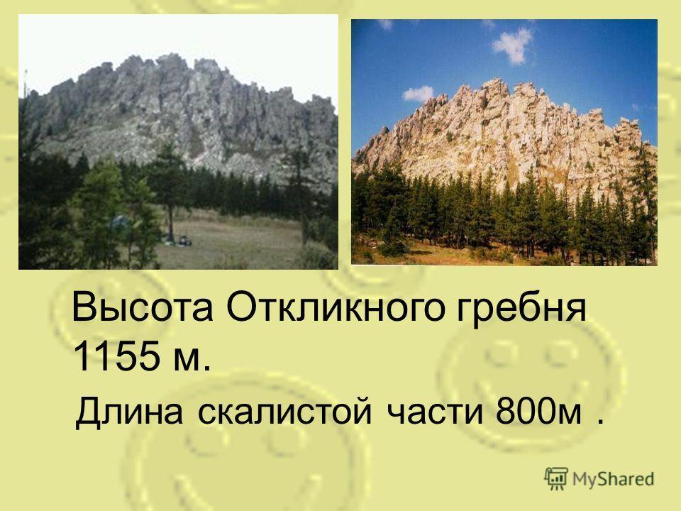 Длина скалистой части 800м. Высота Откликного гребня 1155 м.