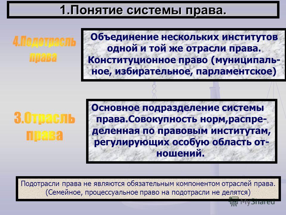 1.Понятие системы права. Объединение нескольких институтов одной и той же отрасли права. Конституционное право (муниципаль- ное, избирательное, парламентское) Подотрасли права не являются обязательным компонентом отраслей права. (Семейное, процессуал