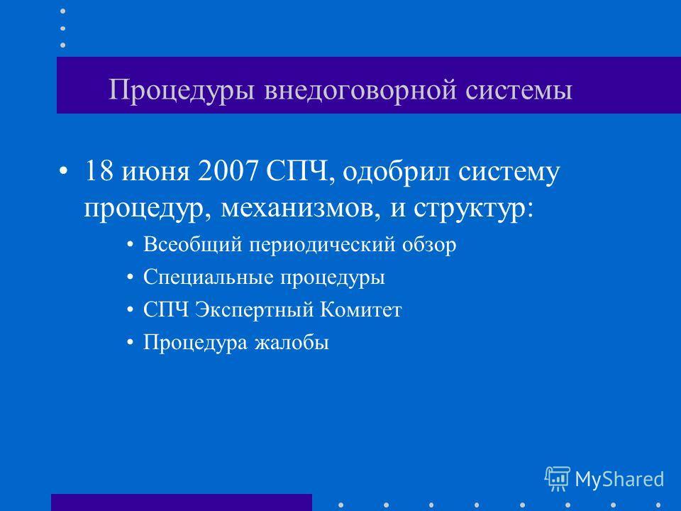 Совет по правам человека Рабочая группа по инд. жалобам Рабочая группа по ситуациям СПЧ Экспертный Комитет