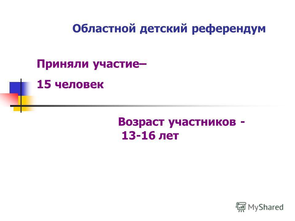 Областной детский референдум Приняли участие– 15 человек Возраст участников - 13-16 лет