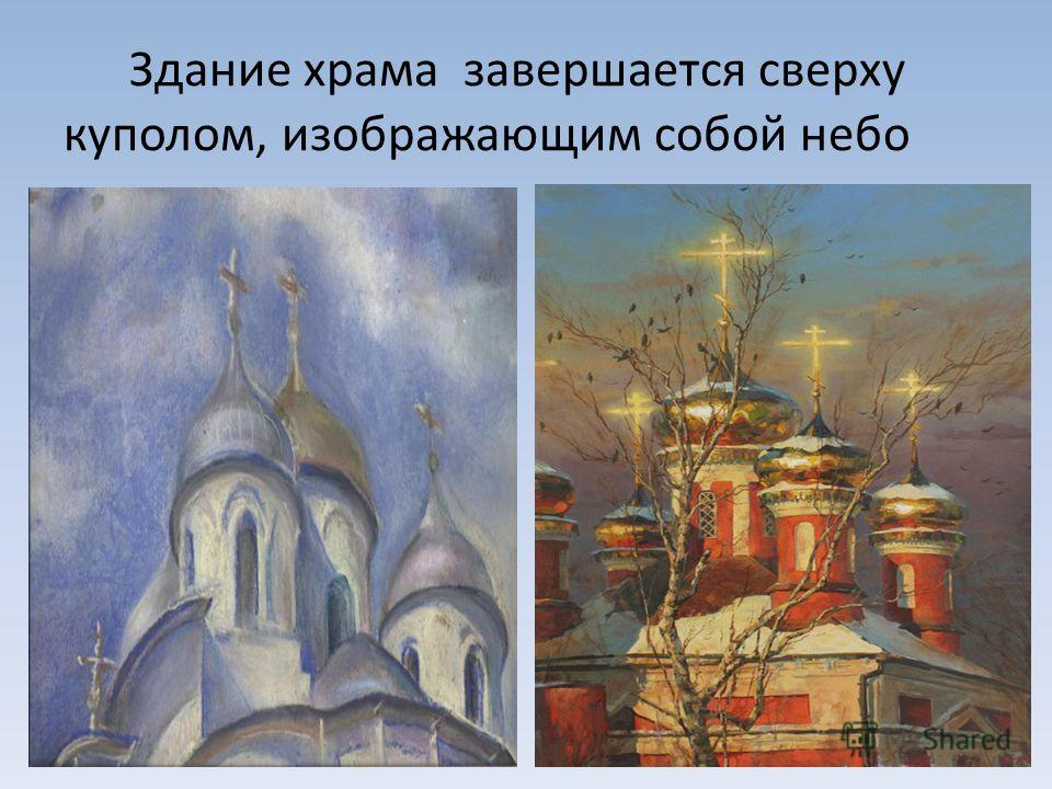 Здание храма завершается сверху куполом, изображающим собой небо