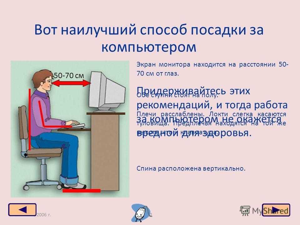 Москва, 2006 г.21 Вот наилучший способ посадки за компьютером 50-70 см Экран монитора находится на расстоянии 50- 70 см от глаз. Обе ступни стоят на полу. Спина расположена вертикально. Плечи расслаблены. Локти слегка касаются туловища. Предплечья на