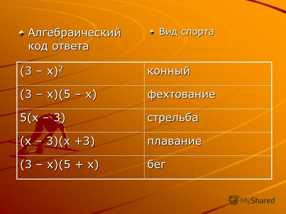 Алгебраический код ответа Вид спорта (3 – х) 2 конный (3 – х)(5 – х) фехтование 5(х – 3) стрельба (х – 3)(х +3) плавание (3 – х)(5 + х) бег