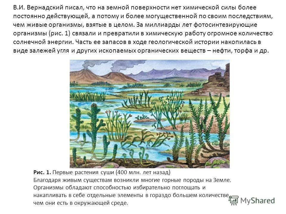 В.И. Вернадский писал, что на земной поверхности нет химической силы более постоянно действующей, а потому и более могущественной по своим последствиям, чем живые организмы, взятые в целом. За миллиарды лет фотосинтезирующие организмы (рис. 1) связал