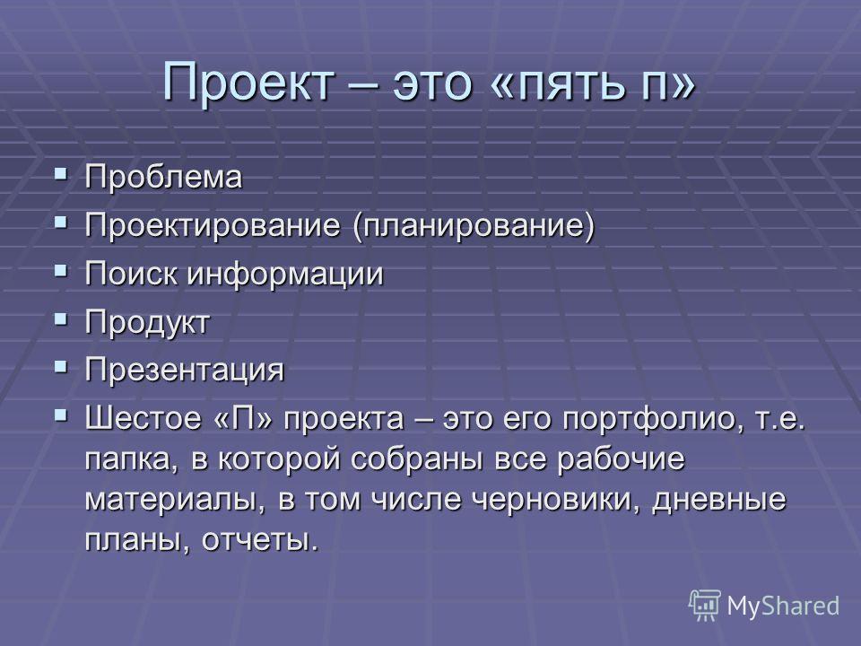 Проект – это «пять п» Проблема Проблема Проектирование (планирование) Проектирование (планирование) Поиск информации Поиск информации Продукт Продукт Презентация Презентация Шестое «П» проекта – это его портфолио, т.е. папка, в которой собраны все ра