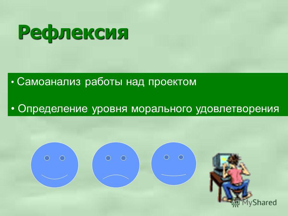 Рефлексия Самоанализ работы над проектом Определение уровня морального удовлетворения