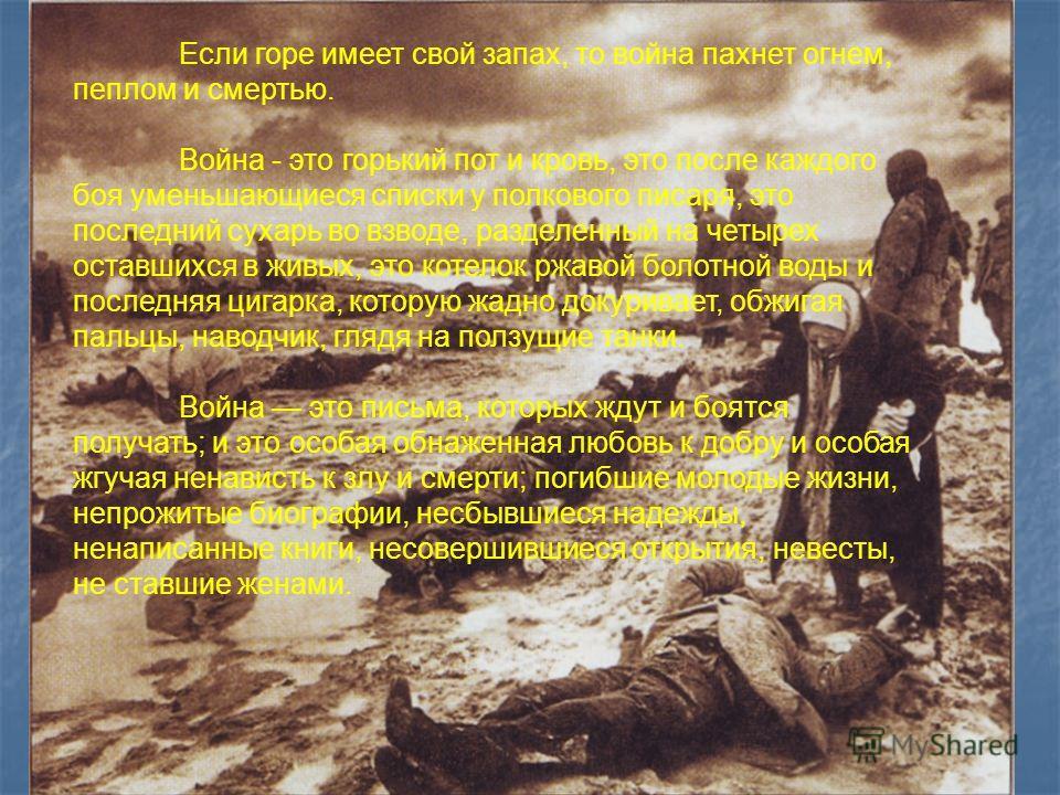 Если горе имеет свой запах, то война пахнет огнем, пеплом и смертью. Война - это горький пот и кровь, это после каждого боя уменьшающиеся списки у полкового писаря, это последний сухарь во взводе, разделенный на четырех оставшихся в живых, это котело