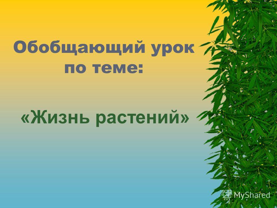 Обобщающий урок по теме: «Жизнь растений»
