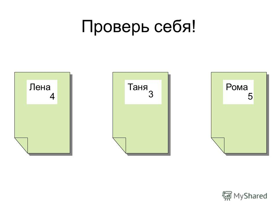 Проверь себя! ЛенаТаняРома 4 3 5