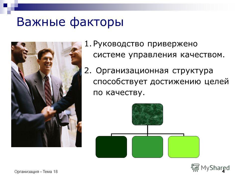 Важные факторы 1.Руководство привержено системе управления качеством. 2. Организационная структура способствует достижению целей по качеству. 4 Организация – Тема 18