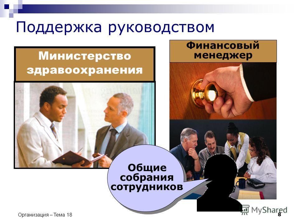 Организация – Тема 18 8 Поддержка руководством Министерство здравоохранения Финансовый менеджер Общие собрания сотрудников