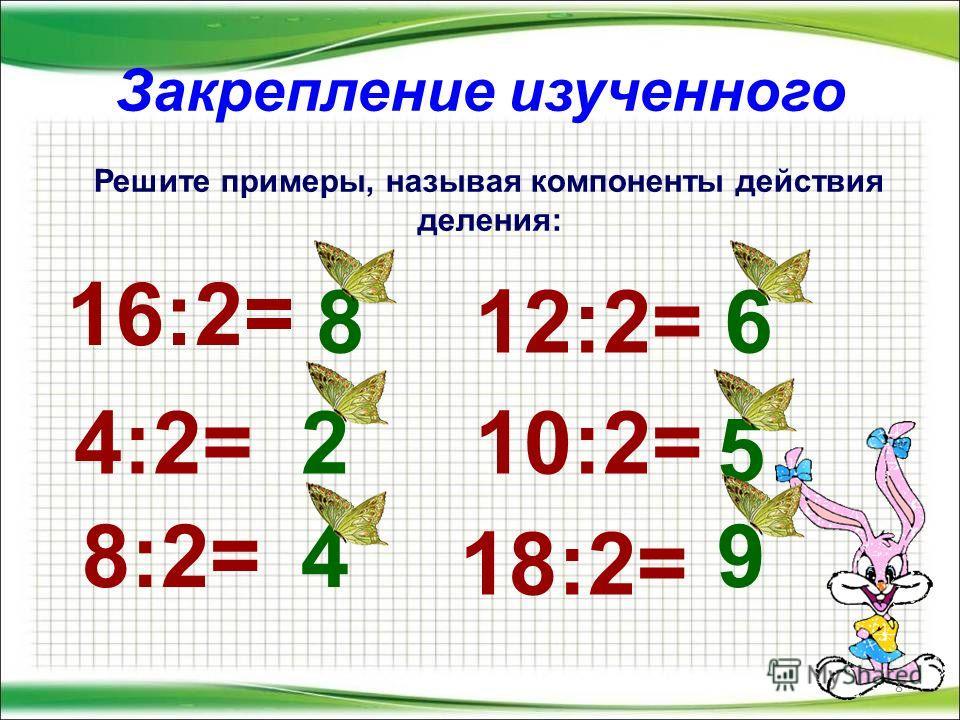 Закрепление изученного 8 Решите примеры, называя компоненты действия деления: 16:2= 4:2= 8:2= 12:2= 10:2= 18:2= 8 2 4 6 5 9