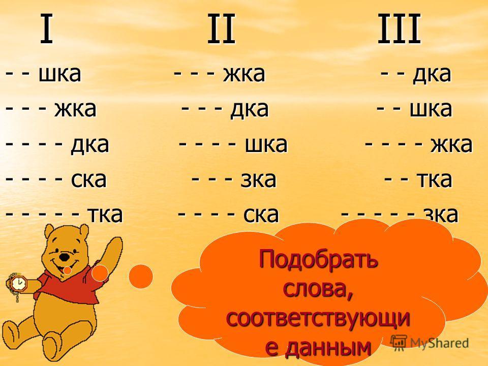 I II III I II III - - шка - - - жка - - дка - - - жка - - - дка - - шка - - - - дка - - - - шка - - - - жка - - - - ска - - - зка - - тка - - - - - тка - - - - ска - - - - - зка Подобрать слова, соответствующи е данным схемам.