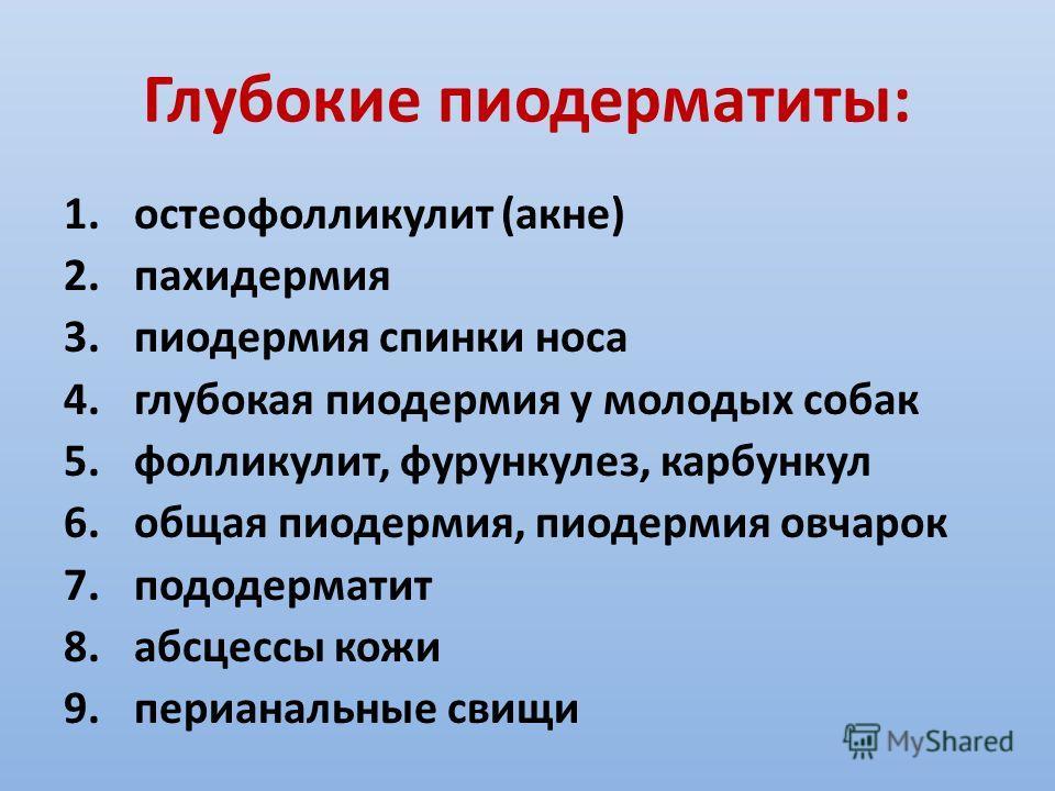 Глубокие пиодерматиты: 1.остеофолликулит (акне) 2.пахидермия 3.пиодермия спинки носа 4.глубокая пиодермия у молодых собак 5.фолликулит, фурункулез, карбункул 6.общая пиодермия, пиодермия овчарок 7.пододерматит 8.абсцессы кожи 9.перианальные свищи