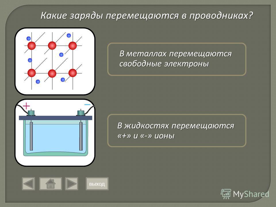 Какие заряды перемещаются в проводниках? В металлах перемещаются свободные электроны В жидкостях перемещаются «+» и «-» ионы выход