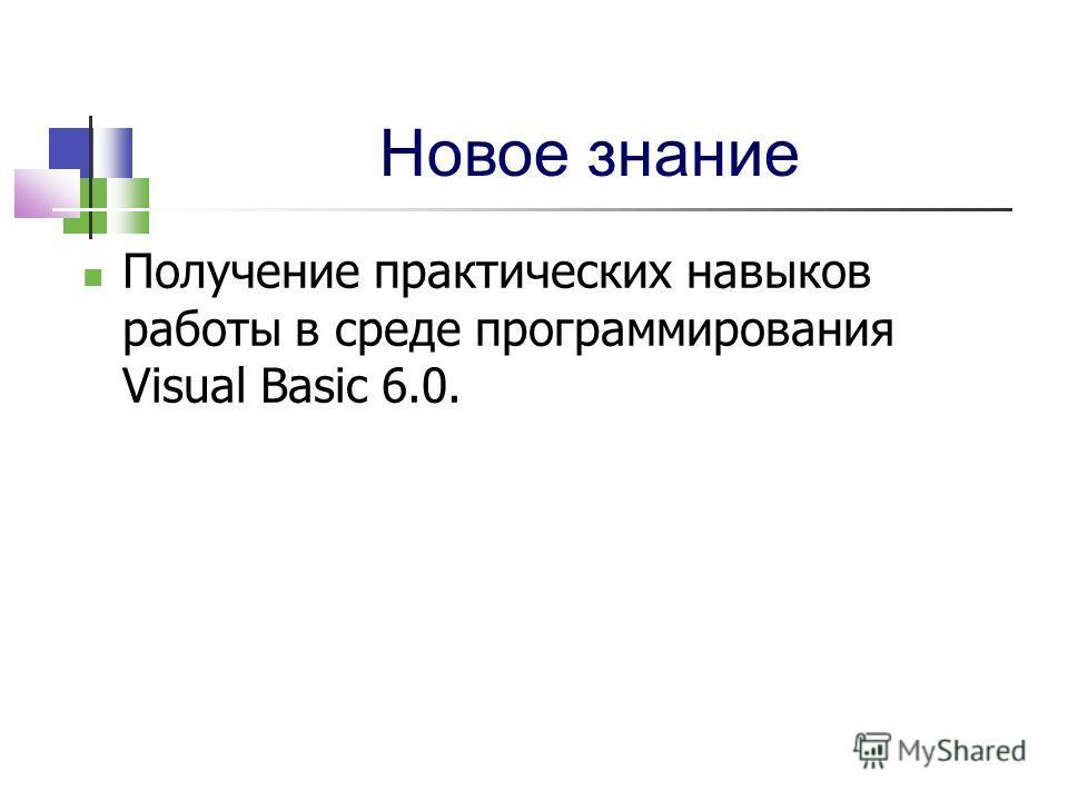 Новое знание Получение практических навыков работы в среде программирования Visual Basic 6.0.
