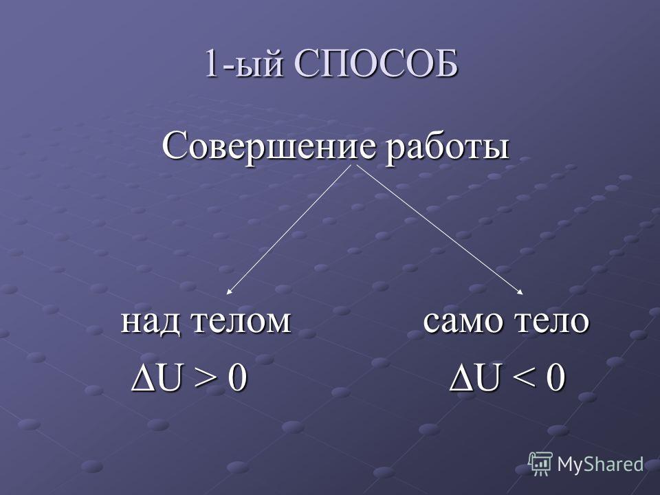 1-ый СПОСОБ Совершение работы Совершение работы над телом само тело над телом само тело U > 0 U 0 U < 0