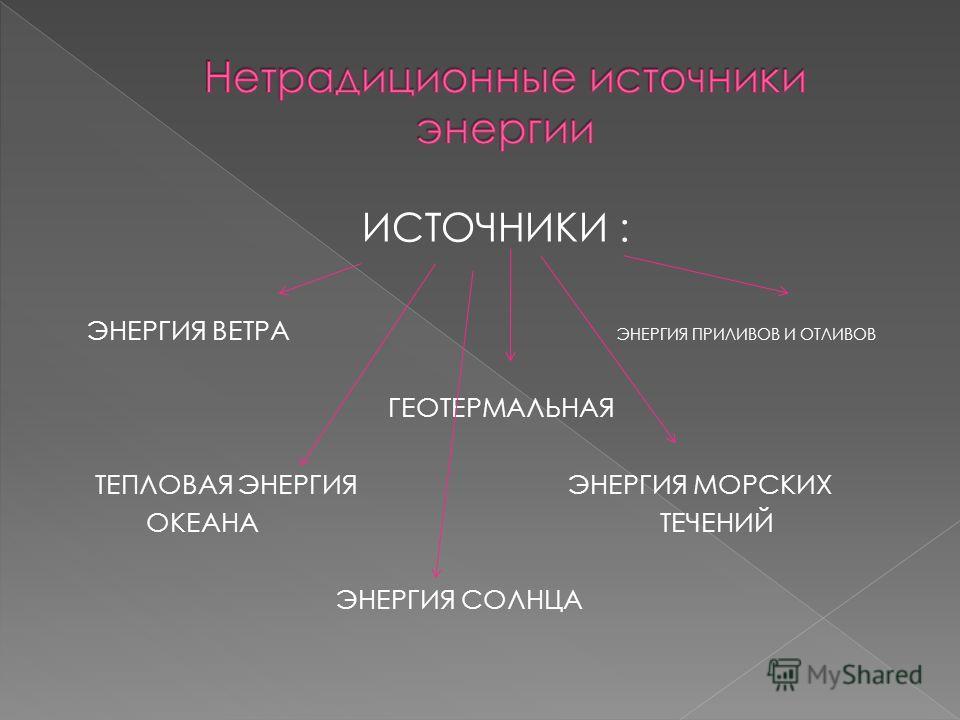 ИСТОЧНИКИ : ЭНЕРГИЯ ВЕТРА ЭНЕРГИЯ ПРИЛИВОВ И ОТЛИВОВ ГЕОТЕРМАЛЬНАЯ ТЕПЛОВАЯ ЭНЕРГИЯ ЭНЕРГИЯ МОРСКИХ ОКЕАНА ТЕЧЕНИЙ ЭНЕРГИЯ СОЛНЦА