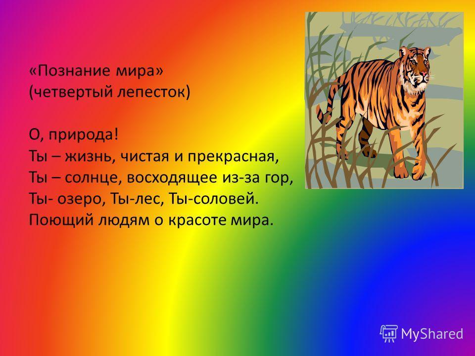 «Познание мира» (четвертый лепесток) О, природа! Ты – жизнь, чистая и прекрасная, Ты – солнце, восходящее из-за гор, Ты- озеро, Ты-лес, Ты-соловей. Поющий людям о красоте мира.