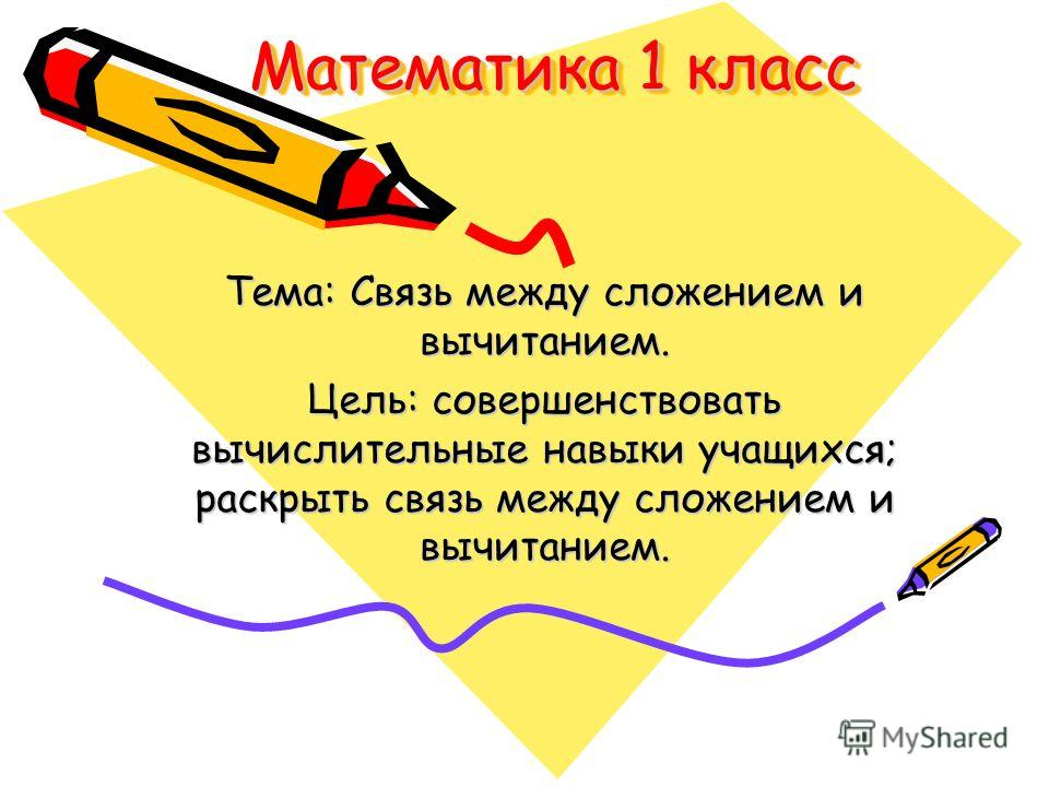 Математика 1 класс Тема: Связь между сложением и вычитанием. Цель: совершенствовать вычислительные навыки учащихся; раскрыть связь между сложением и вычитанием.