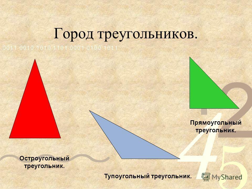 Город треугольников. Тупоугольный треугольник. Прямоугольный треугольник. Остроугольный треугольник.