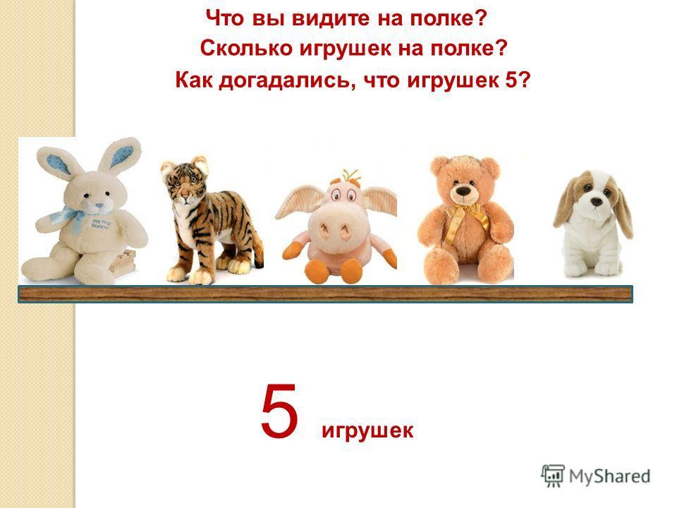 Что вы видите на полке? Сколько игрушек на полке? Как догадались, что игрушек 5? 5 игрушек