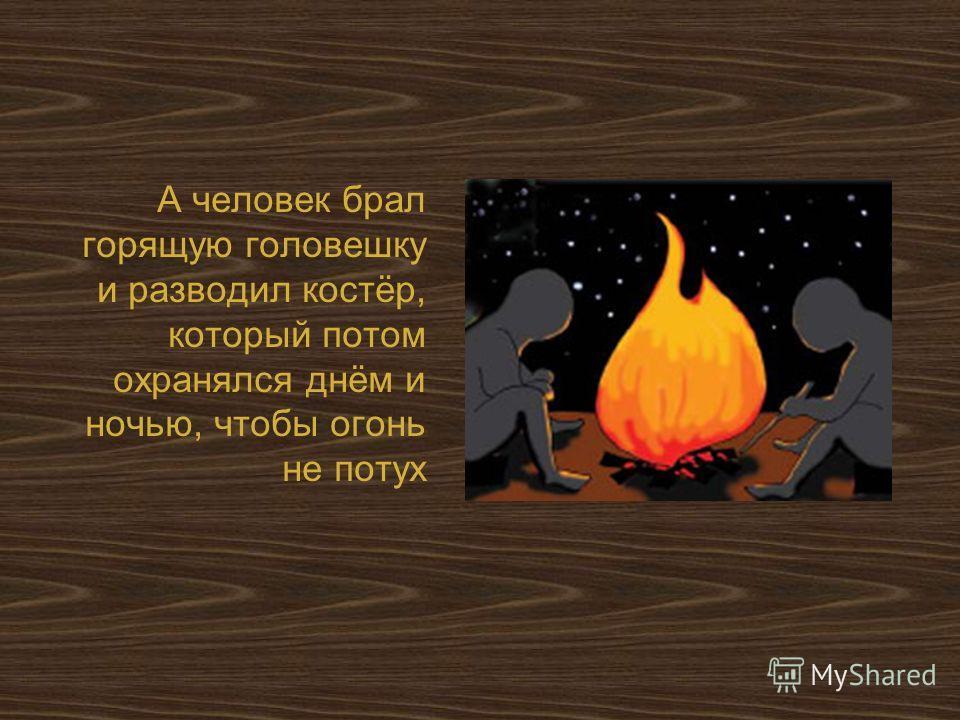 А человек брал горящую головешку и разводил костёр, который потом охранялся днём и ночью, чтобы огонь не потух