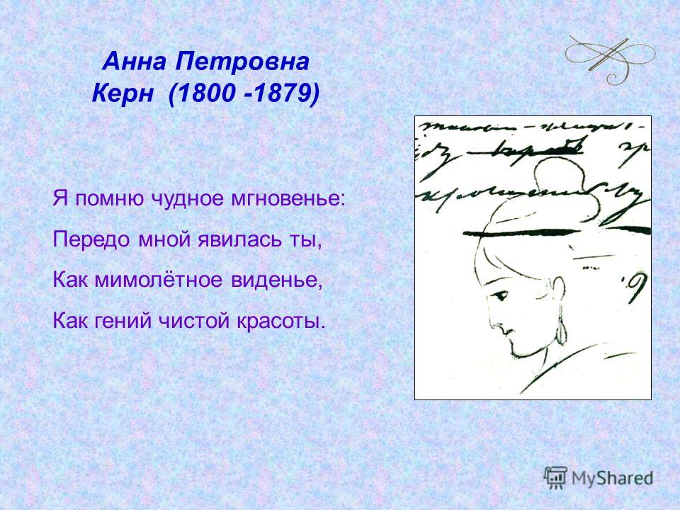 Анна Петровна Керн (1800 -1879) Я помню чудное мгновенье: Передо мной явилась ты, Как мимолётное виденье, Как гений чистой красоты.