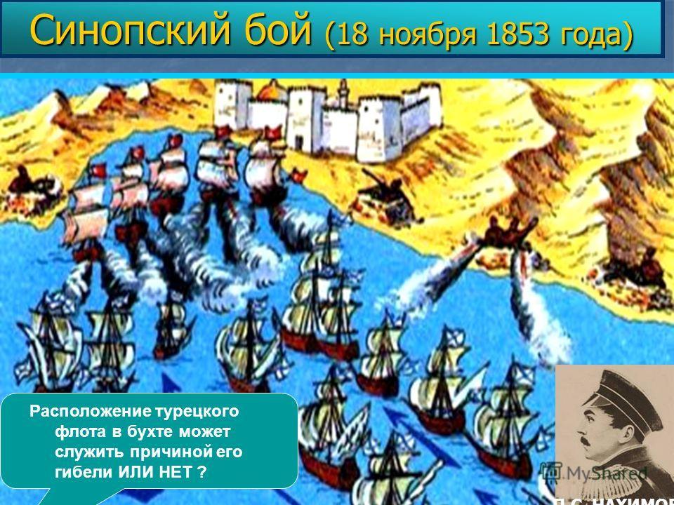 Расположение турецкого флота в бухте может служить причиной его гибели ИЛИ НЕТ ? Синопский бой (18 ноября 1853 года) П.С. НАХИМОВ
