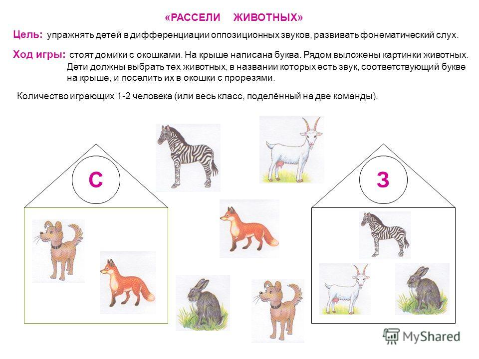 «РАССЕЛИ ЖИВОТНЫХ» Цель: упражнять детей в дифференциации оппозиционных звуков, развивать фонематический слух. Ход игры: стоят домики с окошками. На крыше написана буква. Рядом выложены картинки животных. Дети должны выбрать тех животных, в названии