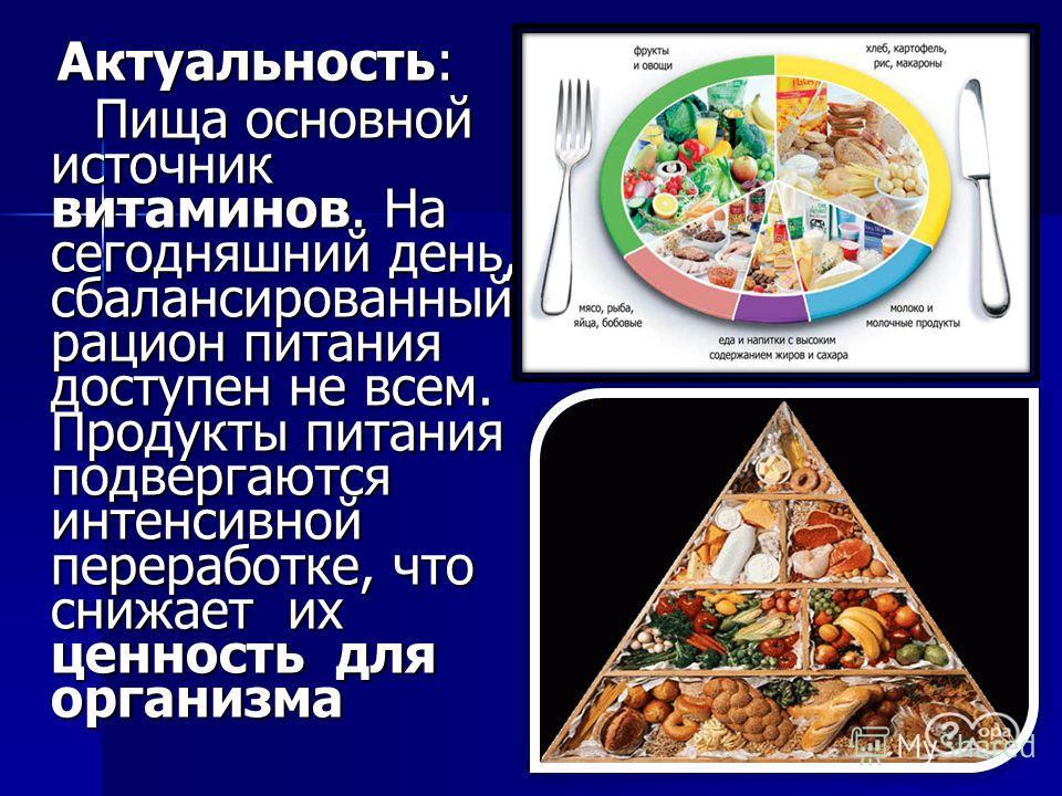 Актуальность: Актуальность: Пища основной источник витаминов. На сегодняшний день, сбалансированный рацион питания доступен не всем. Продукты питания подвергаются интенсивной переработке, что снижает их ценность для организма Пища основной источник в