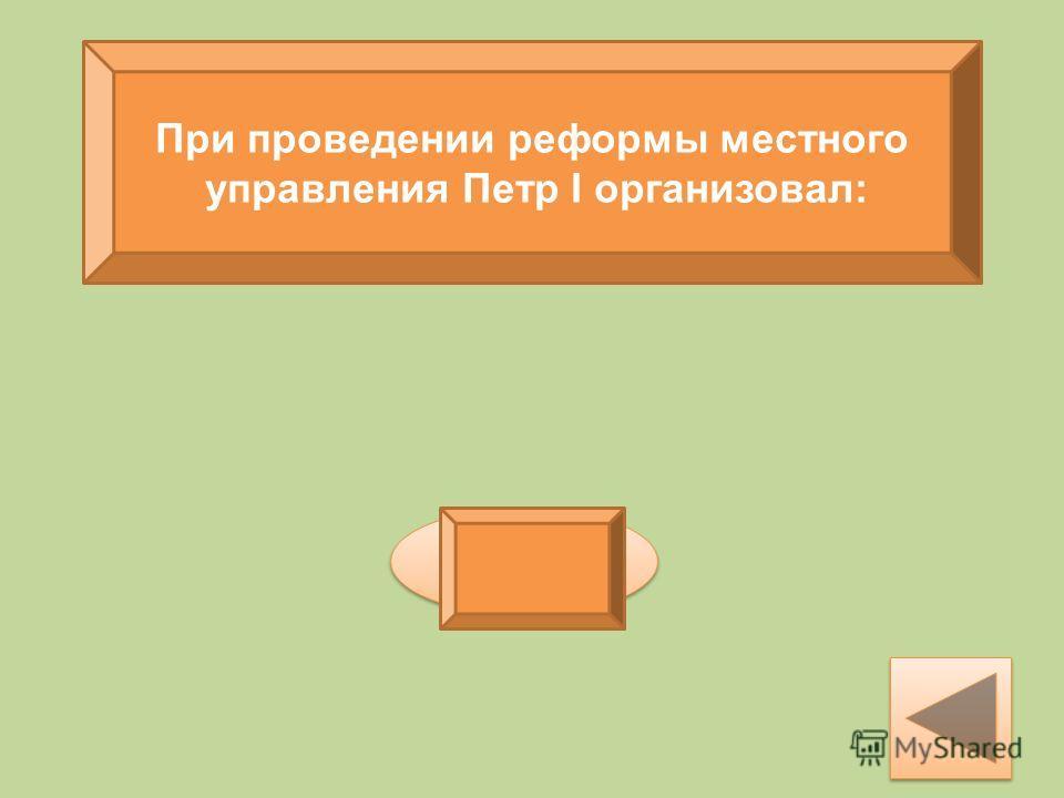 При проведении реформы местного управления Петр I организовал: губернии