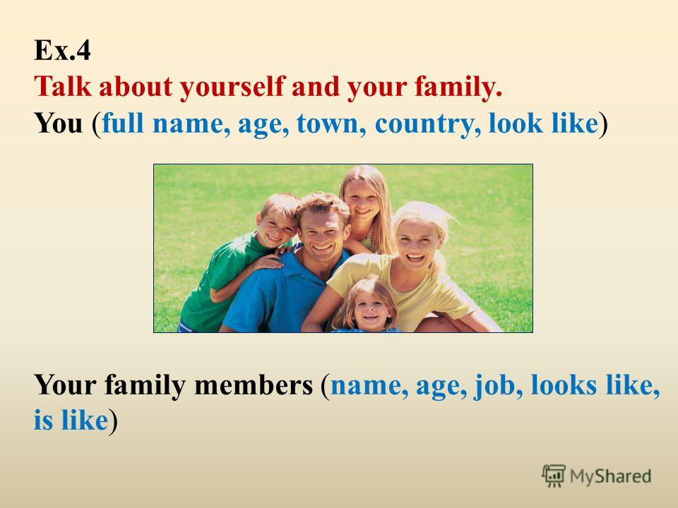 Ex.4 Talk about yourself and your family. You (full name, age, town, country, look like) Your family members (name, age, job, looks like, is like)